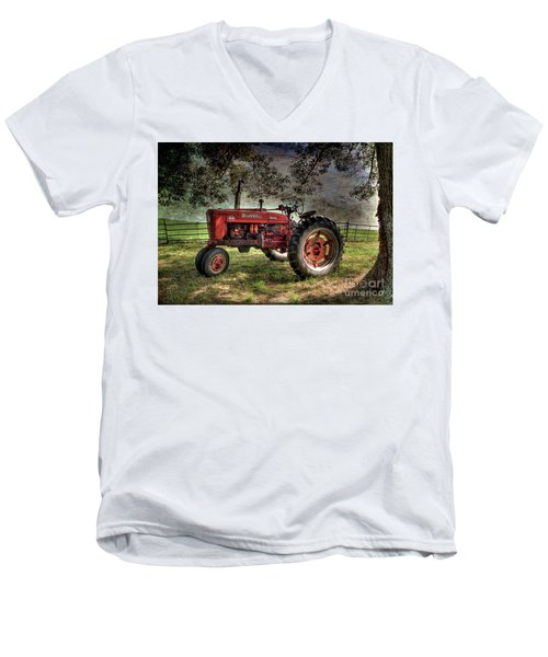 Farmall In The Field Men's V-Neck T-Shirt by Michael Eingle
