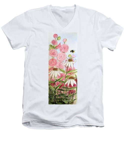 Men's V-Neck T-Shirt featuring the painting Farmhouse Garden by Laurie Rohner