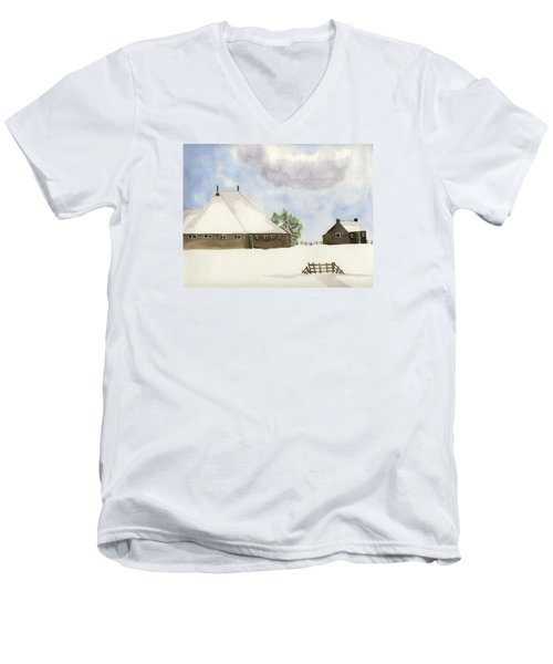 Men's V-Neck T-Shirt featuring the painting Farmhouse In The Snow by Annemeet Hasidi- van der Leij