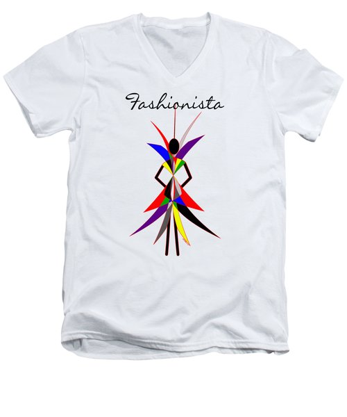 Fashionista Men's V-Neck T-Shirt by Methune Hively