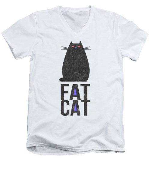 Men's V-Neck T-Shirt featuring the drawing Fat Cat by Edward Fielding