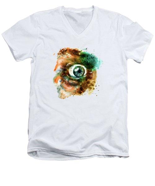 Fear Eye Watercolor Men's V-Neck T-Shirt by Marian Voicu