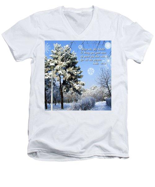 Fear Not Men's V-Neck T-Shirt by Judi Saunders