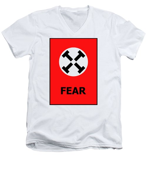 Men's V-Neck T-Shirt featuring the digital art Fear by Richard Reeve