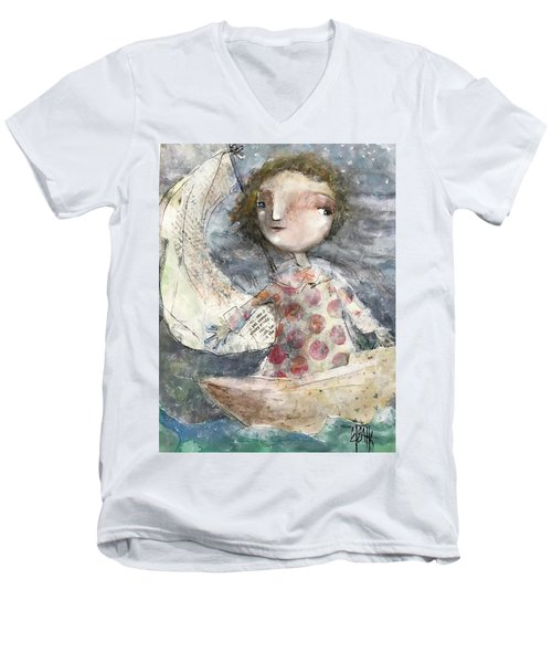 Men's V-Neck T-Shirt featuring the mixed media Fearless by Eleatta Diver