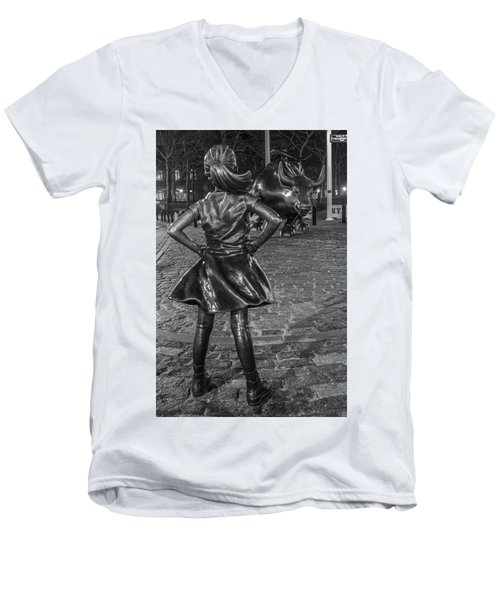 Fearless Girl And Charging Bull Nyc Men's V-Neck T-Shirt