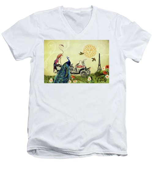 Feathered Friends In Paris, France Men's V-Neck T-Shirt by Peggy Collins