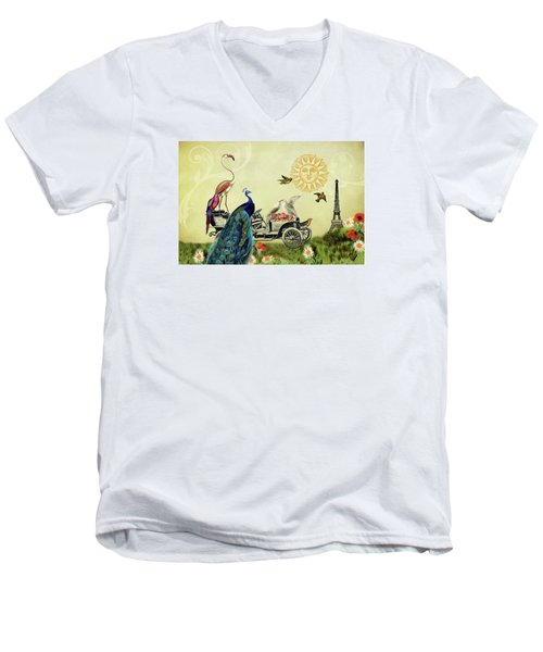 Men's V-Neck T-Shirt featuring the photograph Feathered Friends In Paris, France by Peggy Collins