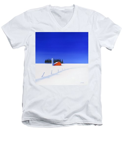 Men's V-Neck T-Shirt featuring the painting February Fields by Jo Appleby