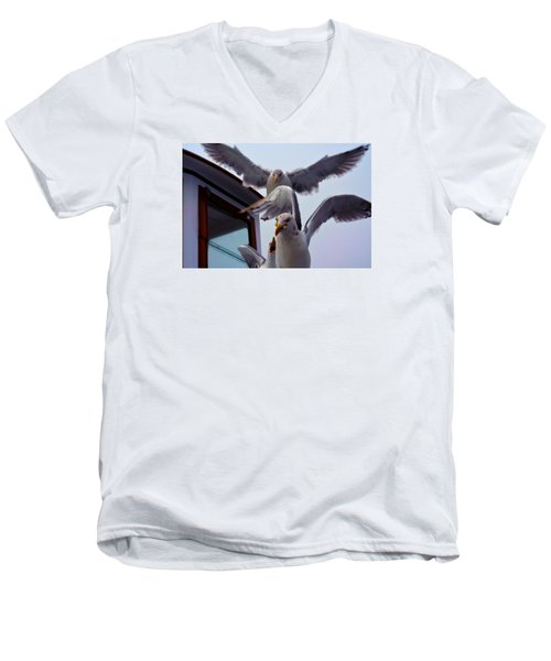 Men's V-Neck T-Shirt featuring the photograph Feeding Frenzy by Richard Ortolano