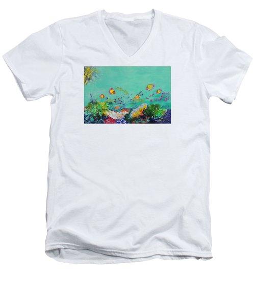 Feeding Time Men's V-Neck T-Shirt by Lyn Olsen