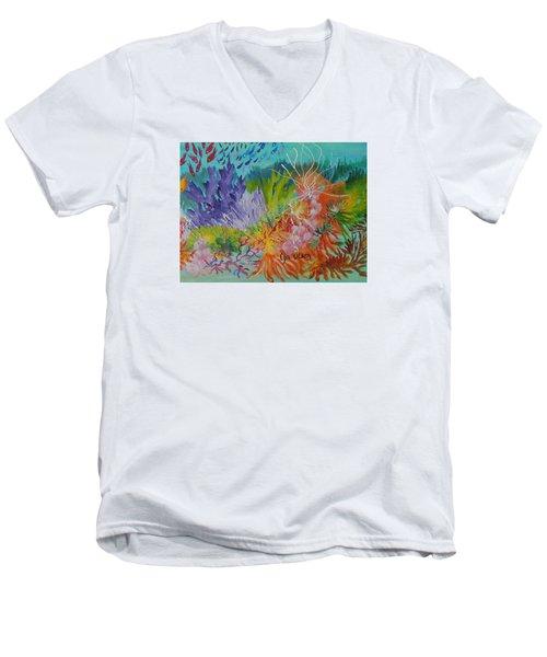 Feeding Time On The Reef #3 Men's V-Neck T-Shirt by Lyn Olsen