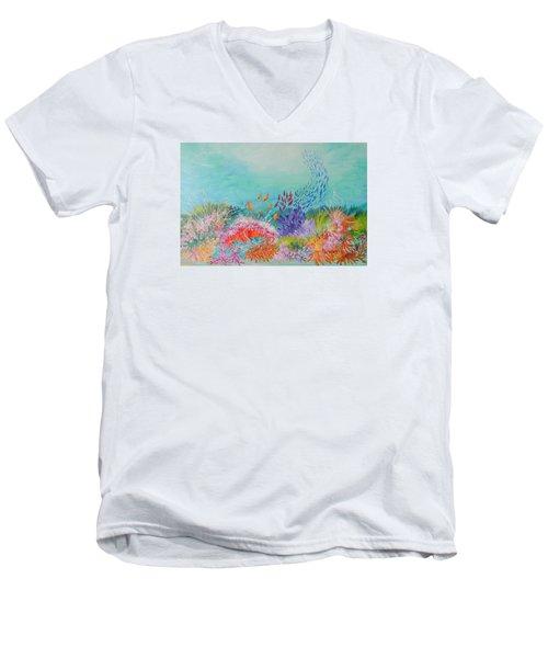 Feeding Time On The Reef Men's V-Neck T-Shirt by Lyn Olsen