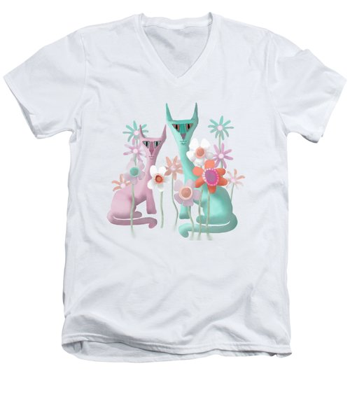 Felines In Flowers Men's V-Neck T-Shirt