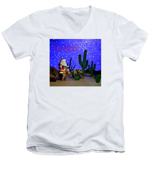 Feliz Navida Santa Men's V-Neck T-Shirt by Marna Edwards Flavell