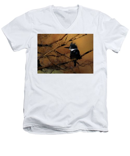 Men's V-Neck T-Shirt featuring the digital art Female Belted Kingfisher 2 by Ernie Echols
