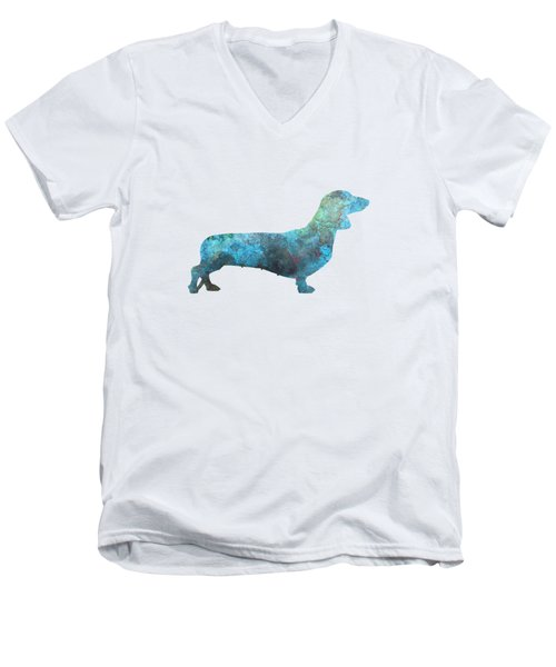 Female Dachsund In Watercolor Men's V-Neck T-Shirt by Pablo Romero