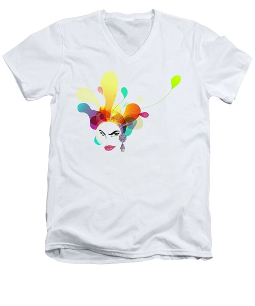 Female Face Abstract Men's V-Neck T-Shirt