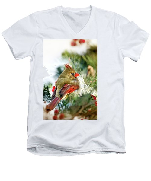 Female Northern Cardinal Men's V-Neck T-Shirt