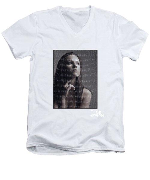 Female Portrait With Reptile Texture Men's V-Neck T-Shirt