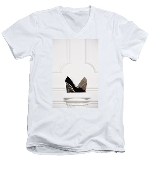 Men's V-Neck T-Shirt featuring the photograph Female Shoes by Andrey  Godyaykin