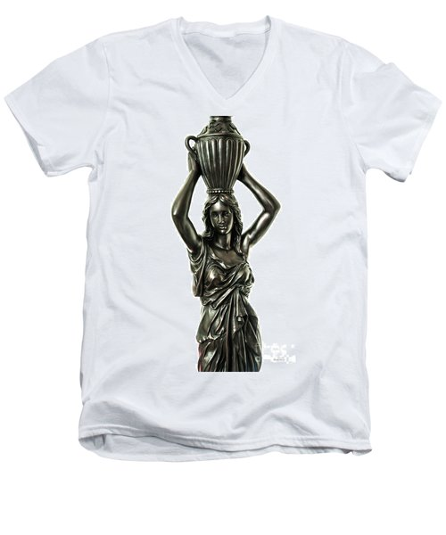 Men's V-Neck T-Shirt featuring the photograph Female Water Goddess Bronze Statue 3288a by Ricardos Creations