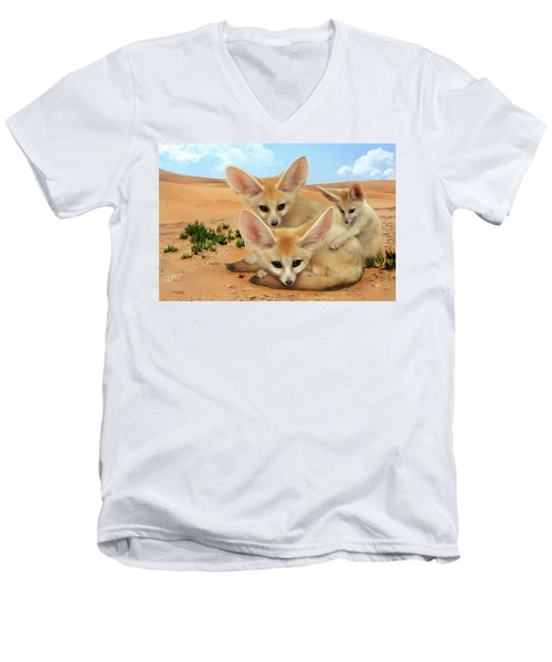 Fennec Foxes Men's V-Neck T-Shirt by Thanh Thuy Nguyen