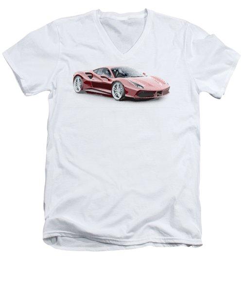 Ferrari 488 Gtb - Parallel Hatching Men's V-Neck T-Shirt