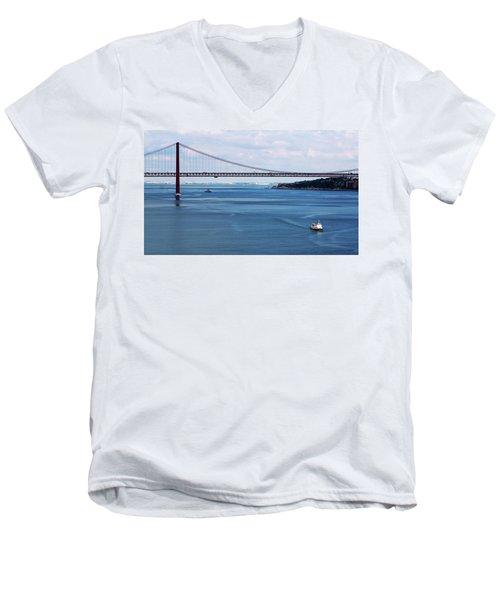 Ferry Across The Tagus Men's V-Neck T-Shirt by Lorraine Devon Wilke
