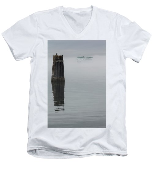 Ferry Hiding In The Fog Men's V-Neck T-Shirt by Tony Locke