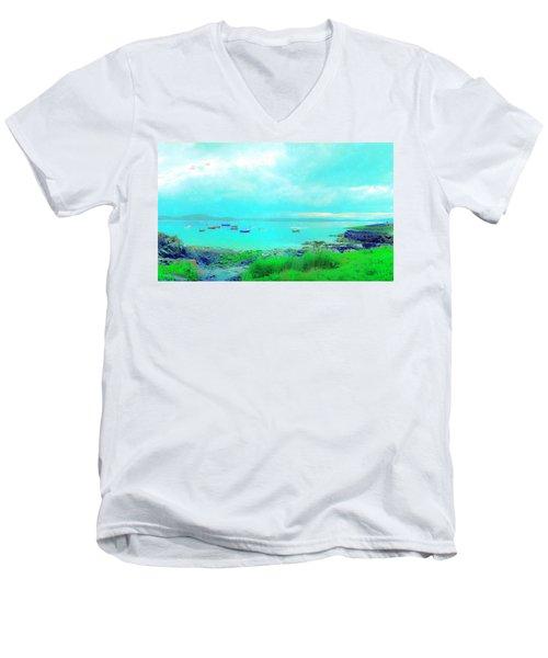 Ferry Wake Men's V-Neck T-Shirt by Jan W Faul