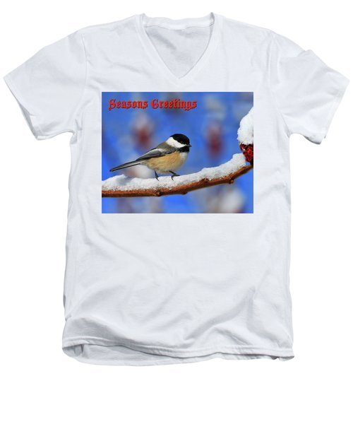 Men's V-Neck T-Shirt featuring the photograph Festive Chickadee by Tony Beck