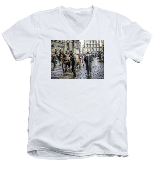 Men's V-Neck T-Shirt featuring the photograph Fiakers At Stephansplatz, Vienna by Brian Tarr