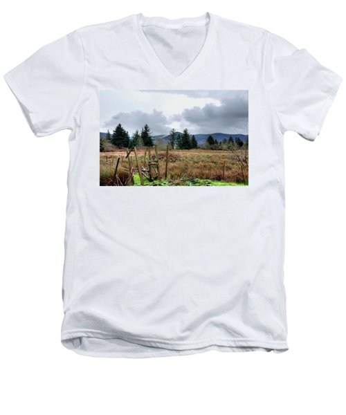 Men's V-Neck T-Shirt featuring the photograph Field, Clouds, Distant Foggy Hills by Chriss Pagani