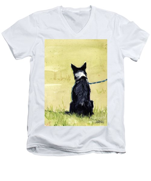 Men's V-Neck T-Shirt featuring the painting Field Greens by Molly Poole