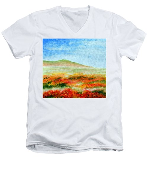 Men's V-Neck T-Shirt featuring the painting Field Of Poppies by Jamie Frier