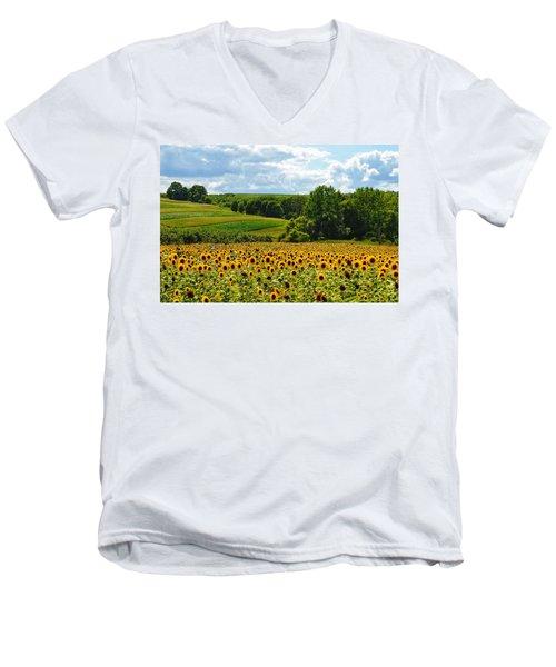 Field Of Sunflowers Men's V-Neck T-Shirt