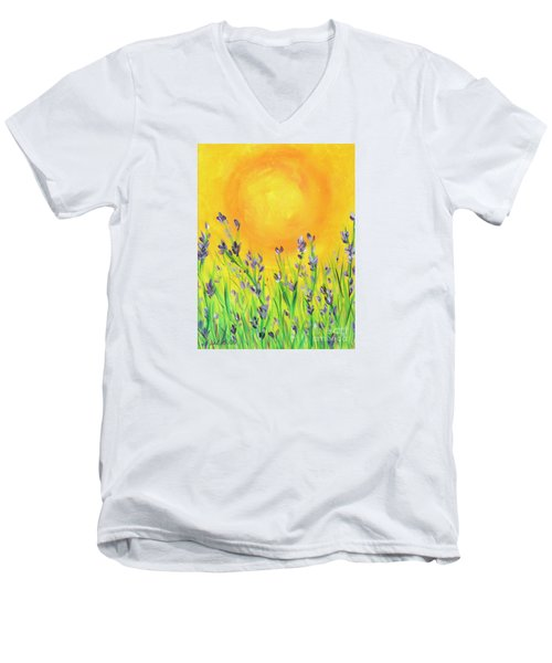 Field Sunset Men's V-Neck T-Shirt by Val Miller