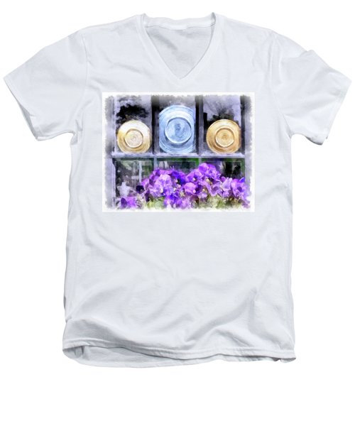 Fiestaware Window Display With Pansies Men's V-Neck T-Shirt by Betty Denise