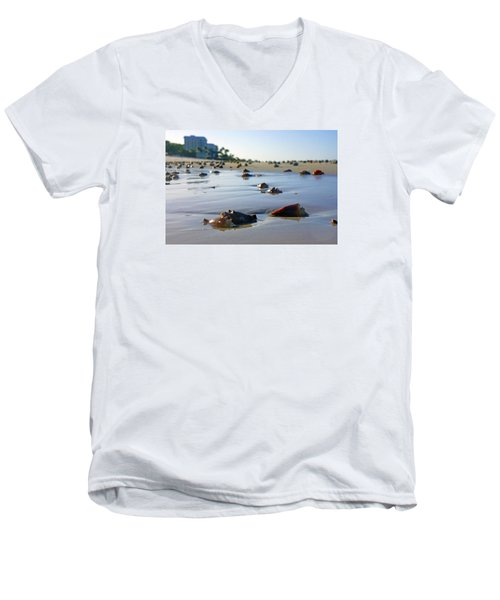 Men's V-Neck T-Shirt featuring the photograph Fighting Conchs On The Beach In Naples, Fl by Robb Stan