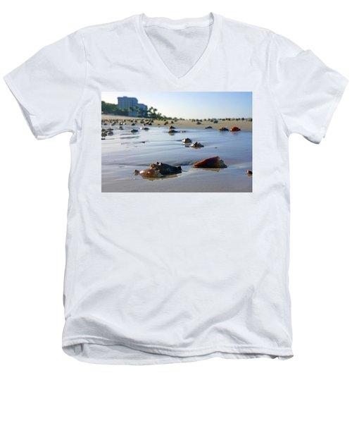 Fighting Conchs On The Beach In Naples, Fl Men's V-Neck T-Shirt