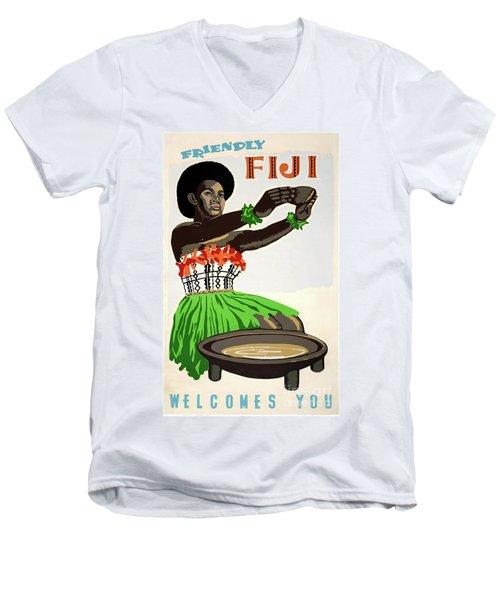 Fiji Restored Vintage Travel Poster Men's V-Neck T-Shirt
