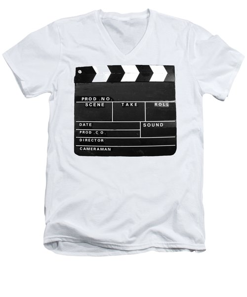 Film Movie Video Production Clapper Board  Men's V-Neck T-Shirt by Tom Conway