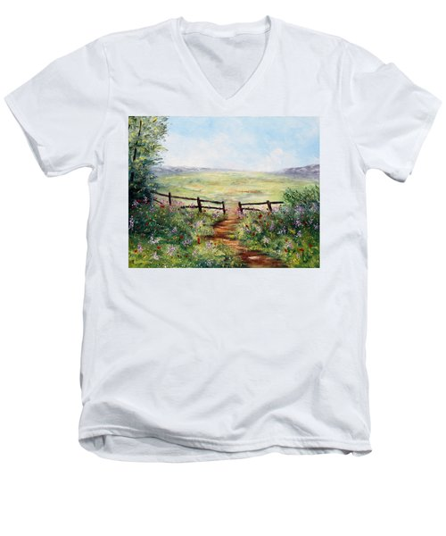 Finding Pasture Men's V-Neck T-Shirt by Meaghan Troup