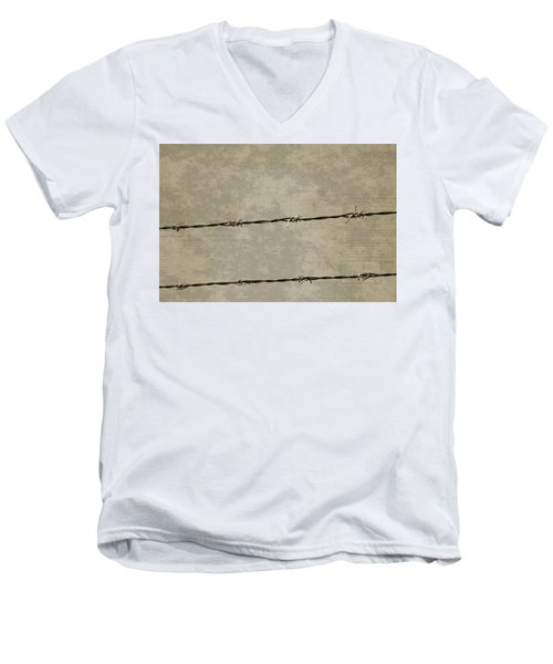 Fine Art Photograph Barbed Wire Over Vintage News Print Breaking Out  Men's V-Neck T-Shirt