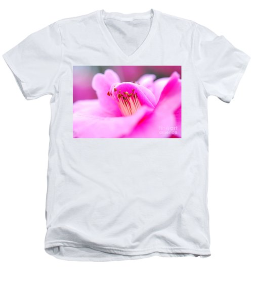 Fine Art- Pink Camellia Men's V-Neck T-Shirt