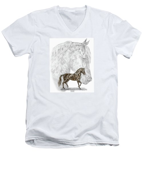 Men's V-Neck T-Shirt featuring the drawing Fine Steps - Paso Fino Horse Print Color Tinted by Kelli Swan