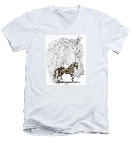 Fine Steps - Paso Fino Horse Print Color Tinted Men's V-Neck T-Shirt by Kelli Swan