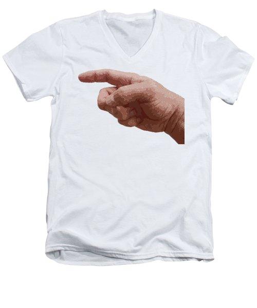Finger - Parallel Hatching Men's V-Neck T-Shirt
