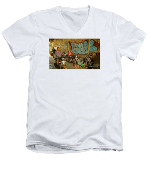 Fink Color Graffiti Men's V-Neck T-Shirt